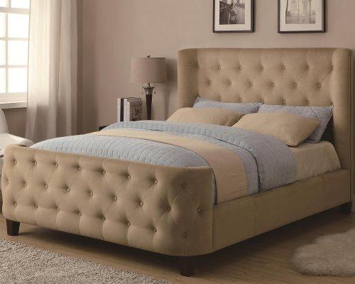 Tan Velvet Tufted Upholstered Eastern King Bed