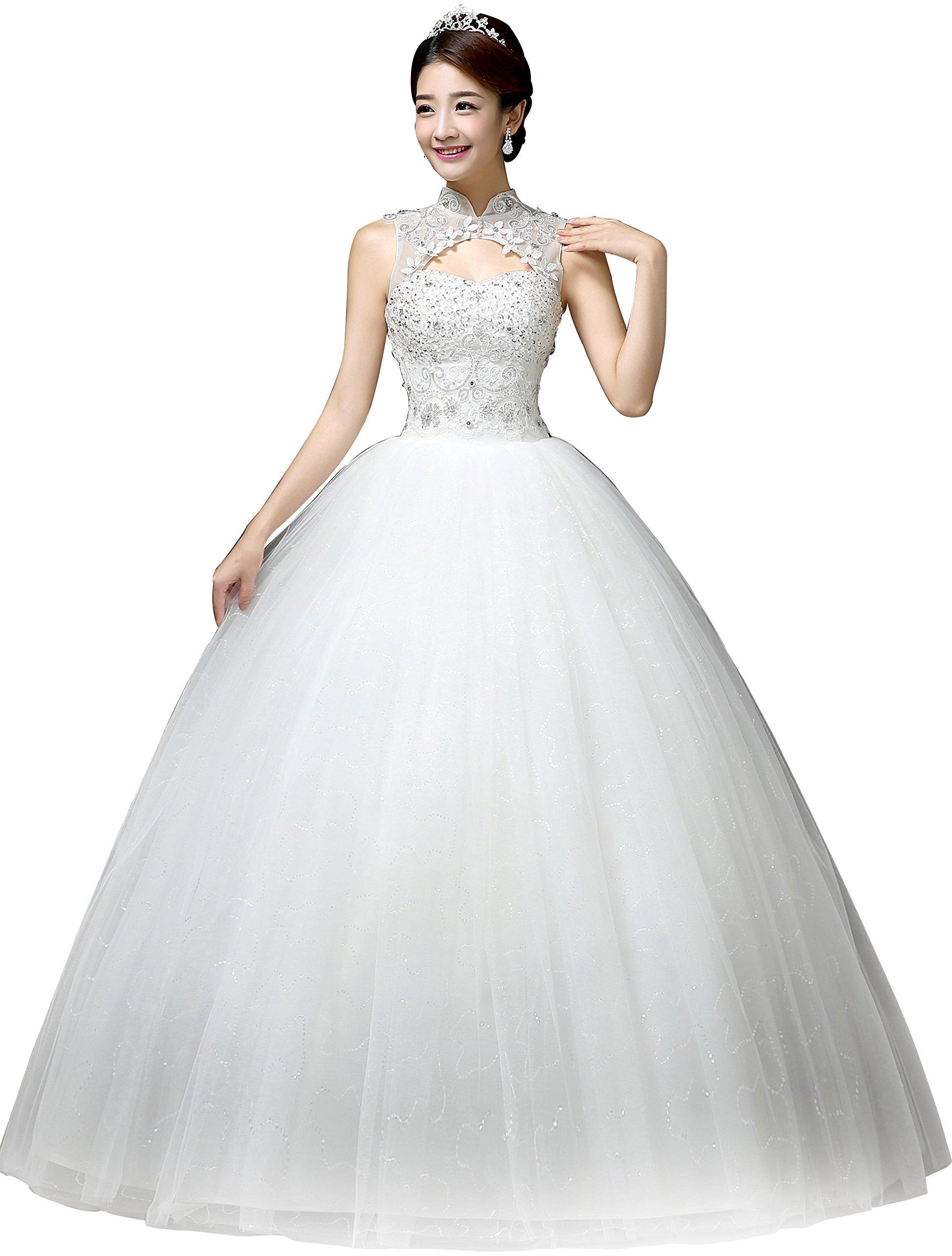 Clover Bridal Vintage High Collar Pearl Wedding Dress for