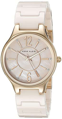 Anne Klein Women's AK/2182RGLP Glitter Accented Rose Gold-Tone and Light Pink Ceramic Bracelet Watch