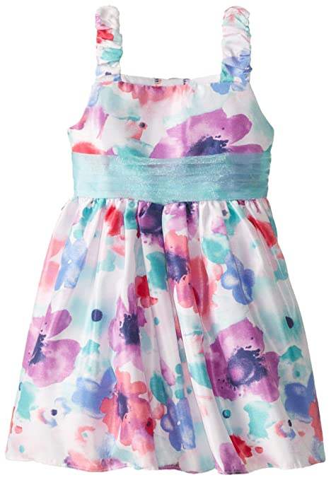 Sweet Heart Rose Little Girls' Floral Print Watercolor Occasion Dress, Blue/Multi, 6X