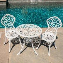 Belleze Outdoor Patio Furniture Leaf Design Bistro Set In