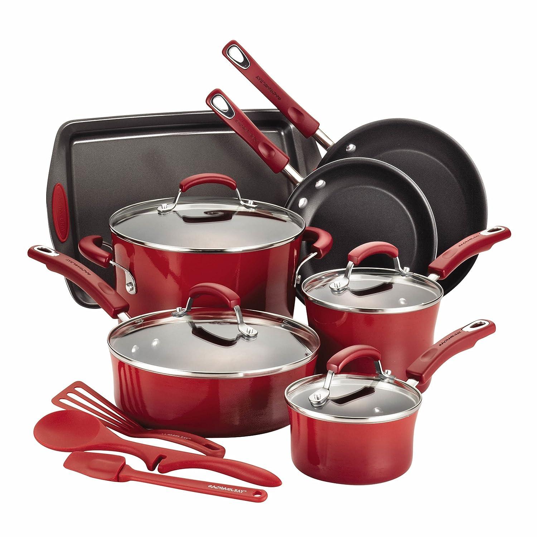 14-Piece Hard Enamel Nonstick Cookware Set, Red