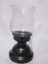 LARGE HURRICANE COUNTRY STYLE GLASS CANDLE HOLDER & METAL