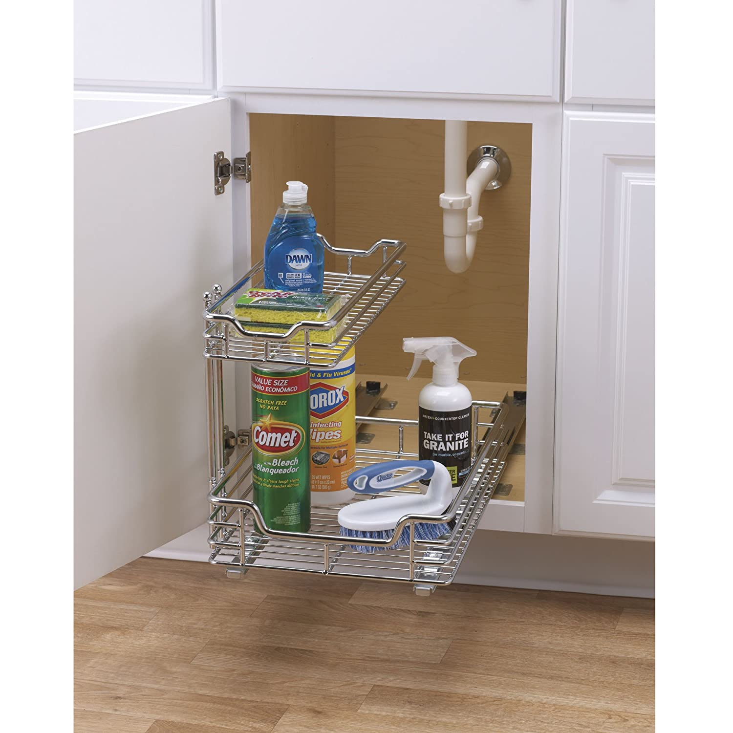 kitchen sliding baskets cost for under sink storage basket cabinet drawer