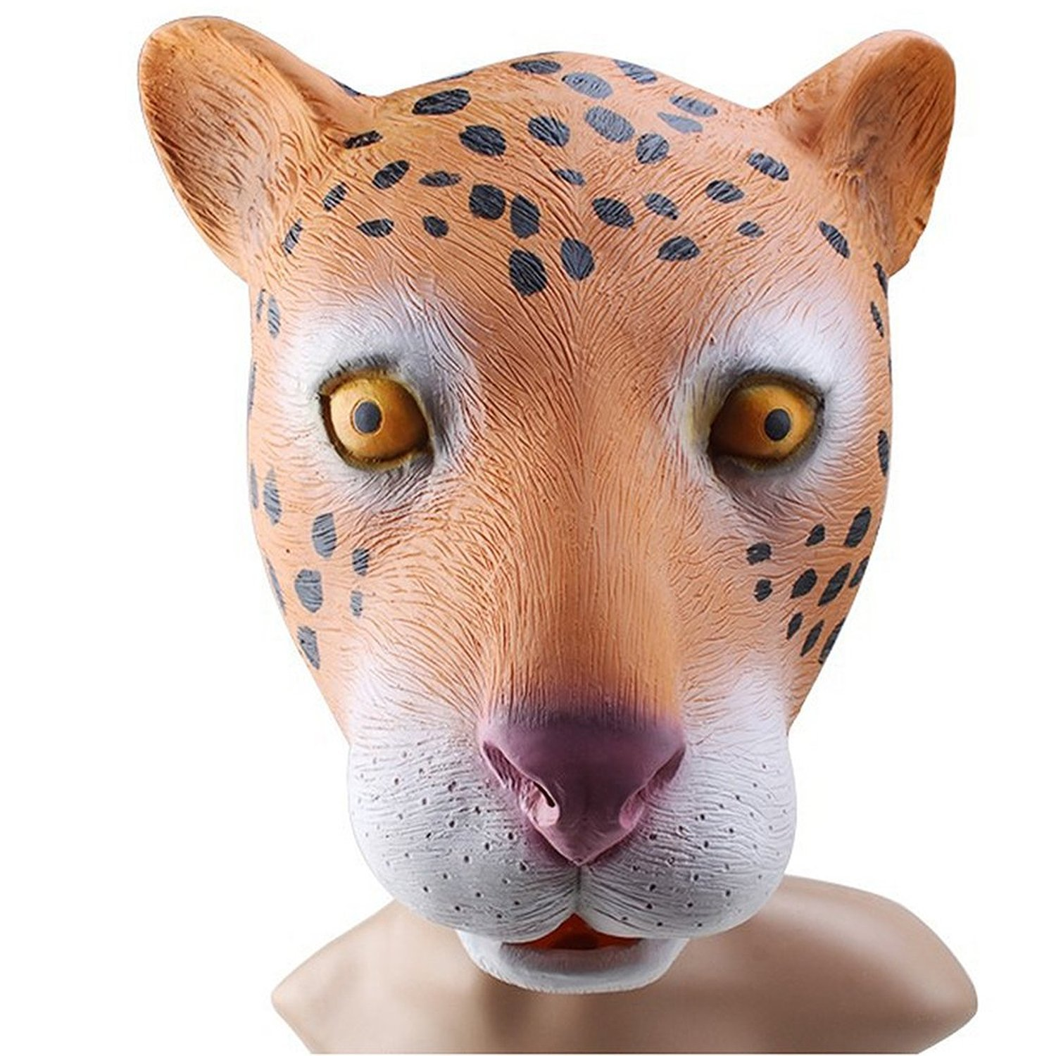 Hot Creepy leopard Mask Head for Halloween Party Decorations Costume Novelty Latex Rubber orange