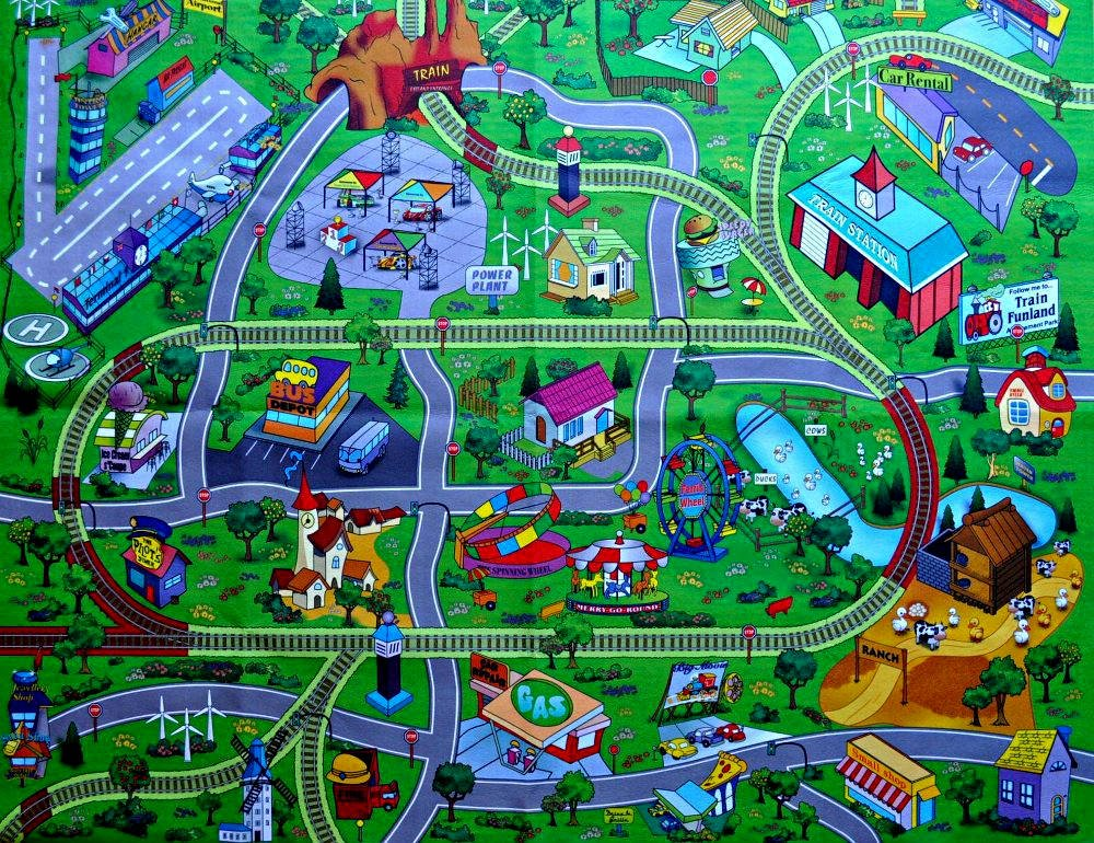Large Town Airport Train Track Street Road Play Mat Car