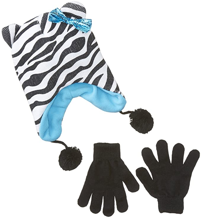 Accessories 22 Big Girls'  Knit Hat with Bow and Glove Set Zebra, Multi, One Size
