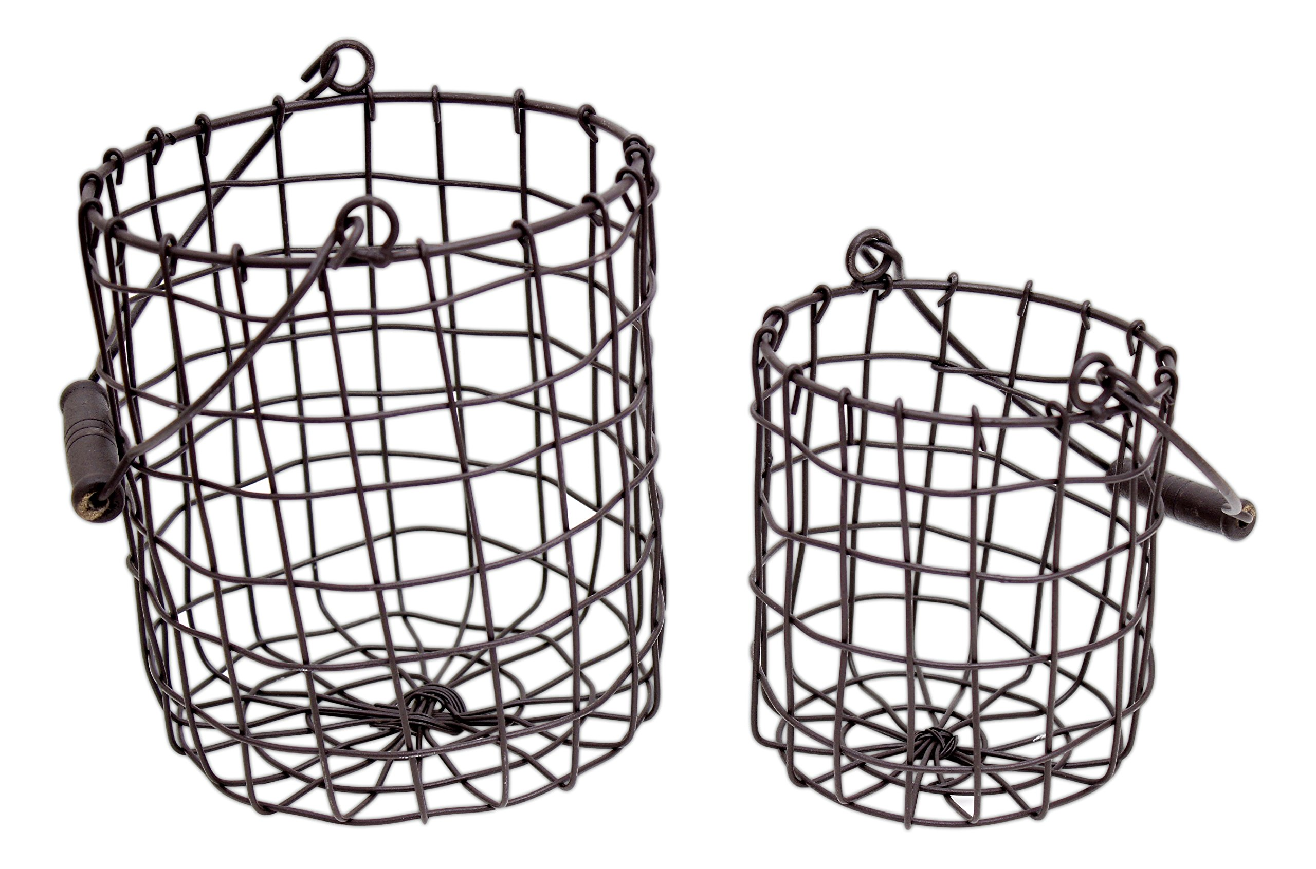 Set Of 2 Honey Amp Me Rustic Metal Round Baskets