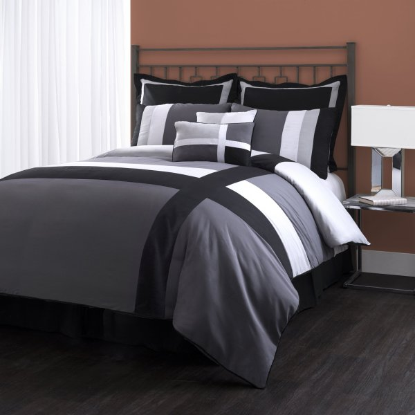 Lush Decor Isa 8-piece Comforter Set Queen Gray Black