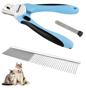 7inch Durable Steel Pet Comb and Large Dog Nail Clippers & Trimmer with Non Slip Handles and Razor Sharp Blades &Safety Stop to Prevent Overcutting Nails For Professional, Safe, At Home Pet Grooming