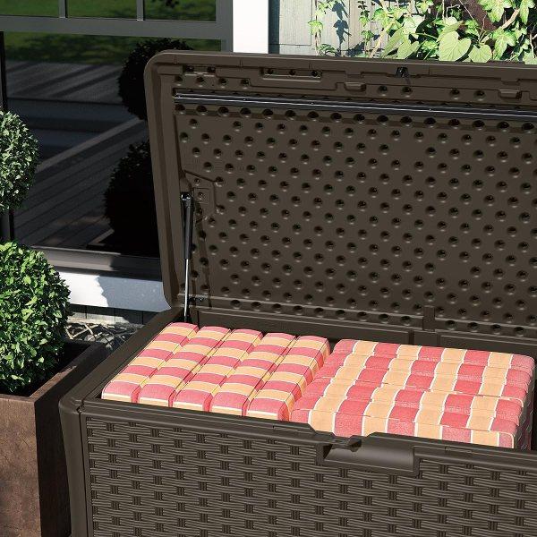 Suncast Bmdb134004 Wicker Resin Deck Box 134 Gallon