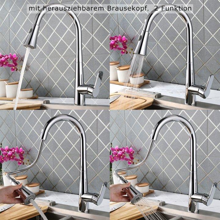 Homelody® mit herausziehbarem Brausekopf Spiralfederarmatur für die Profiküche Küchenarmatur Wasserhahn Aramatur Spültischarmatur von Homelody