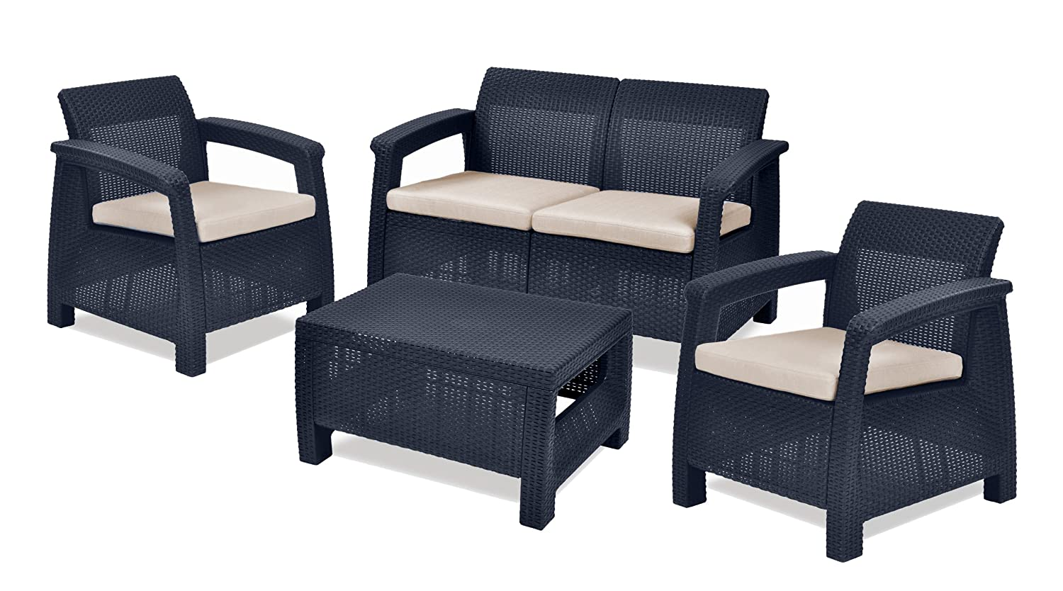 woven plastic garden chairs chair to bed furniture 4 pcs set keter corfu with table