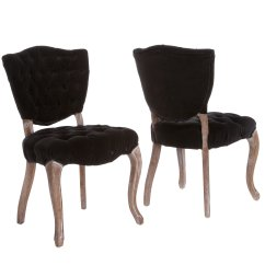 Black Tufted Dining Chair Swivel Yellow Oakdale Fabric Chairs Set Of 2