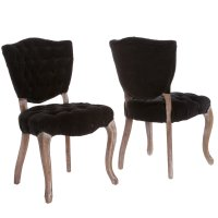 Oakdale Tufted Black Fabric Dining Chairs (Set of 2