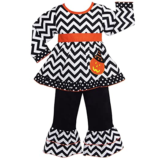 AnnLoren Girls Halloween Chevron Pumpkin Dress & Polka Dot Pants Outfit