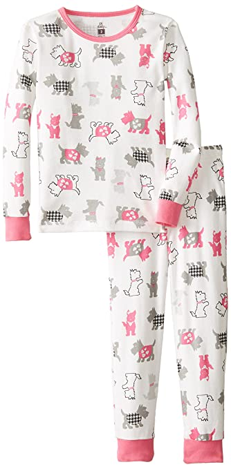 Petit Lem Little Girls'  Be Classy Dogs 2 Piece Pant Sleep Set, White Multi, 5