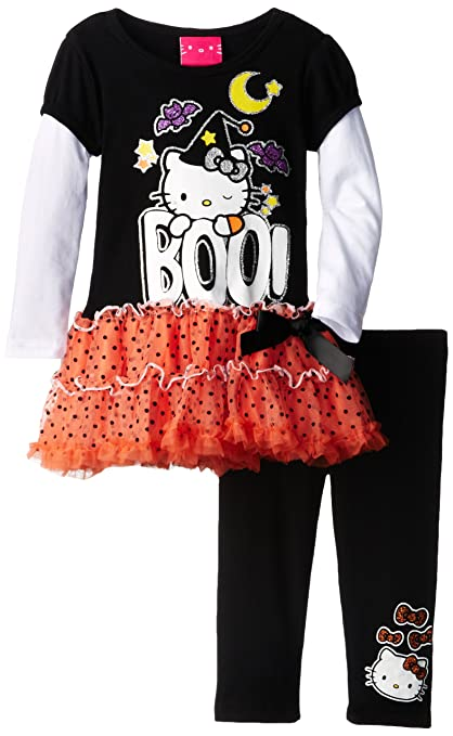 Hello Kitty Little Girls'Halloween Dotted Tutu Set