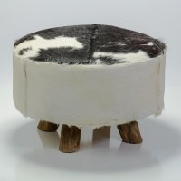 Bare Decor Large Round Leather, Cowhide Ottoman in Black ...