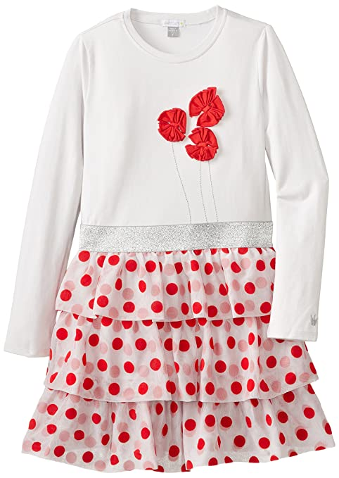 Petit Lem Little Girls' X Missy Long Sleeve Knit Dress, Light Grey/Red, 6
