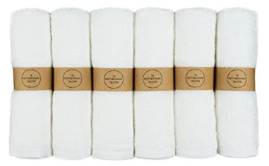 "The Motherhood Collection 6 ULTRA SOFT Baby Bath Washcloths, 100% Natural Bamboo Towels, No-Dyes, Perfect Gift for Sensitive Baby Skin, 6 Pack 10""x10"""