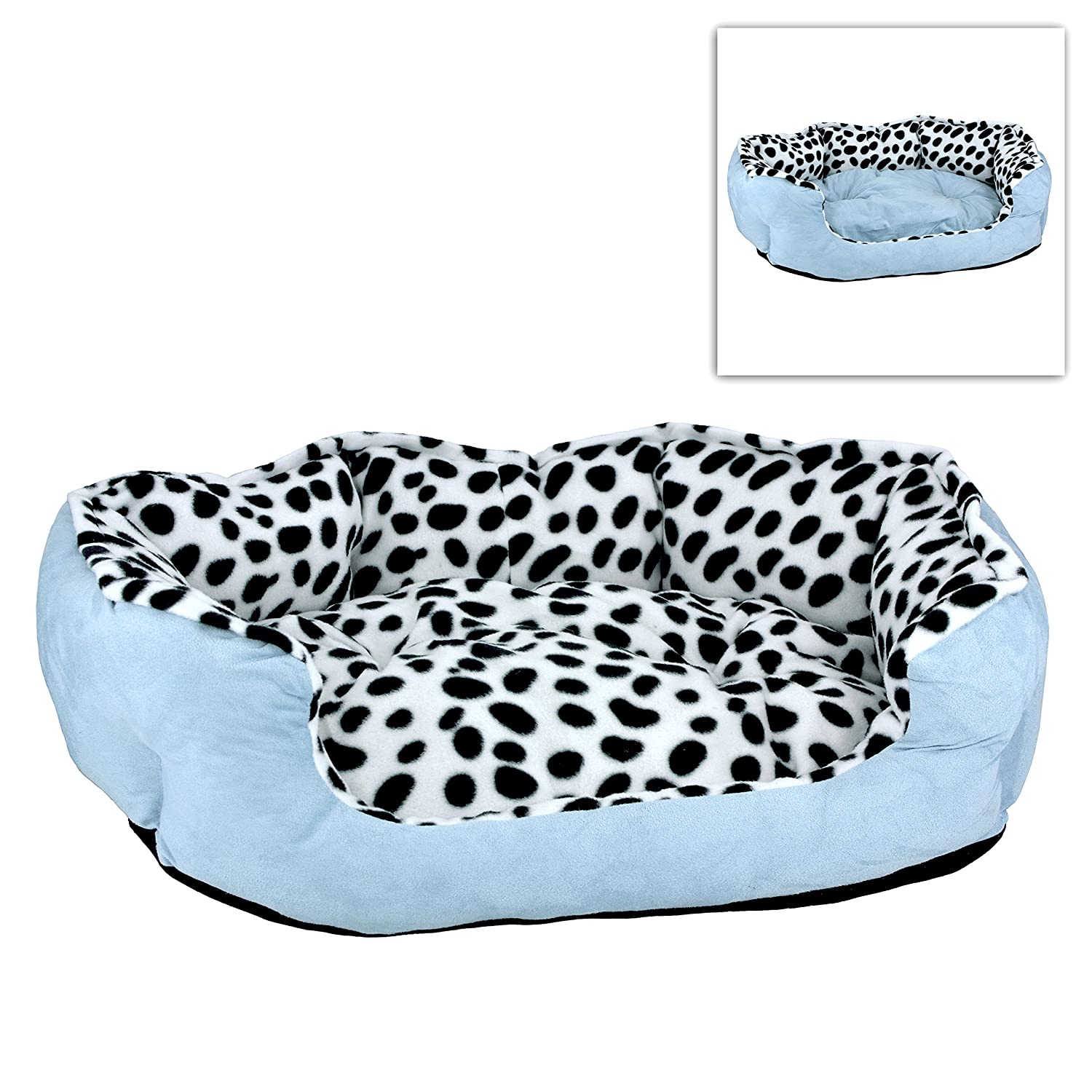 Soft Dalmatian Spotted Pattern Pet Dog Bed / Lounger Sofa with Reversible Pillow