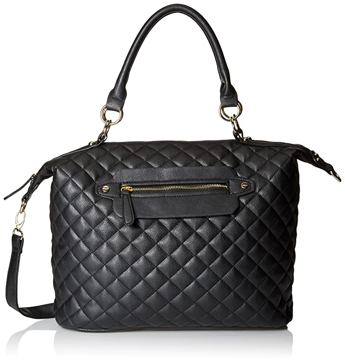 DEL MANO Quilted Convertible Top Handle Bag, Black, One Size