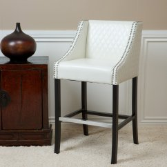White Leather Bar Chair Kidkraft Farmhouse Table And Set Best Selling Milano Quilted Stool