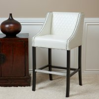 Best Selling Milano White Quilted Leather Bar Stool ...