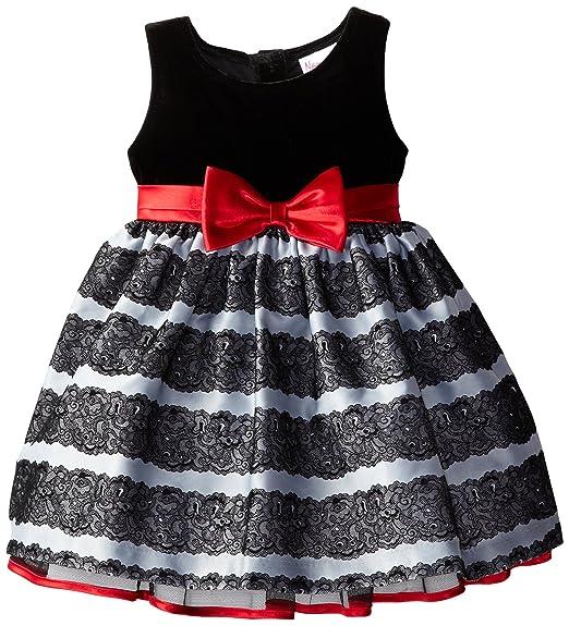 Nannette Little Girls' Velvet and Sateen Dress with Bow, Black, 2T