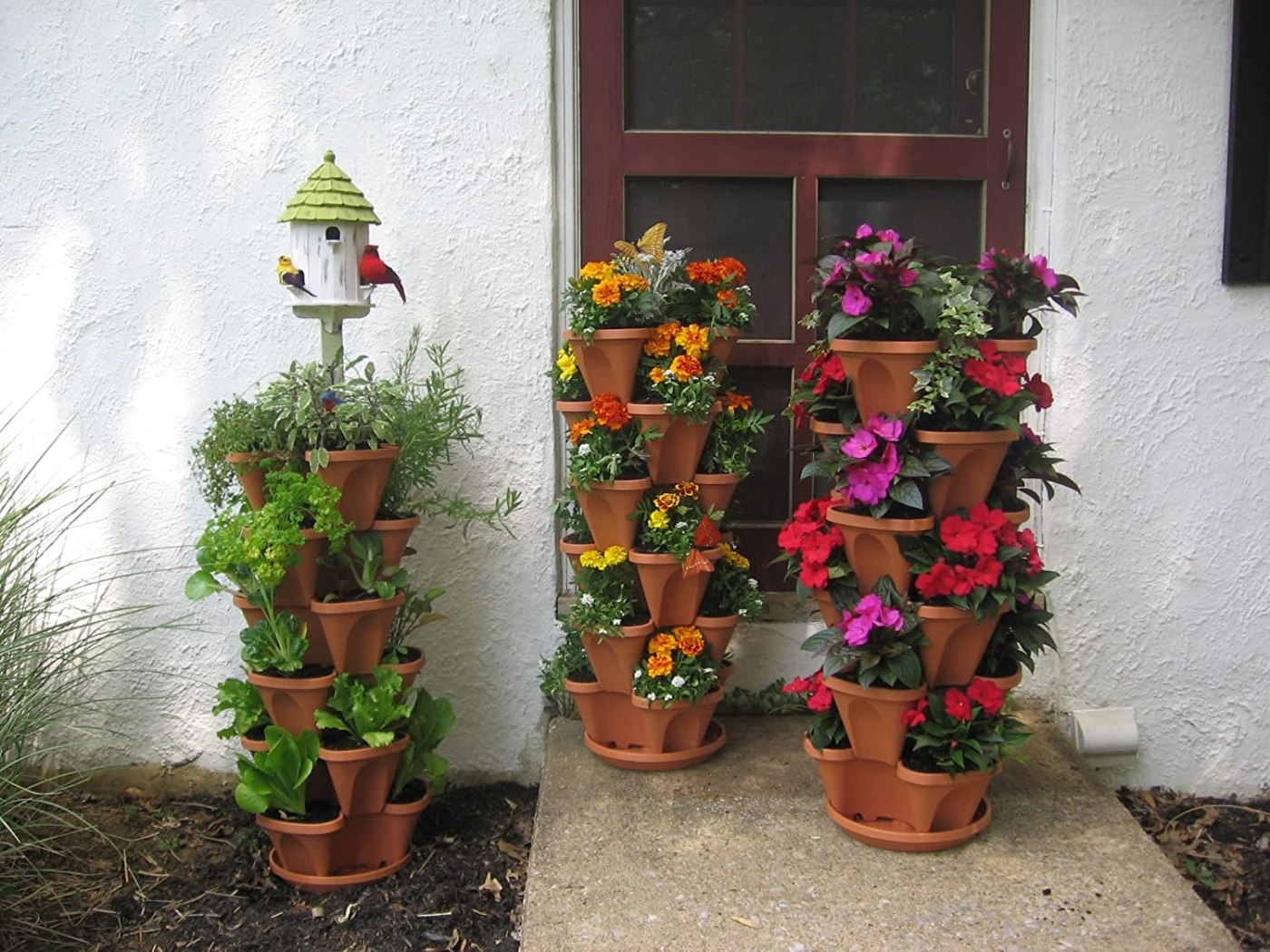 Stacking Planters with Patented Flow through Watering System and Hanging Chain