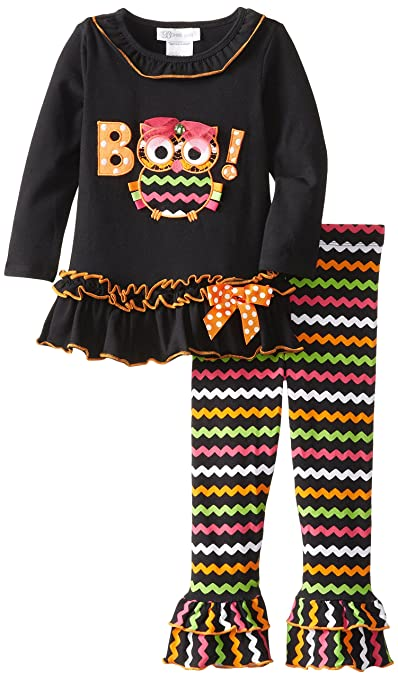 Bonnie Jean Little Girls' Boo Owl Appliqued Legging Set