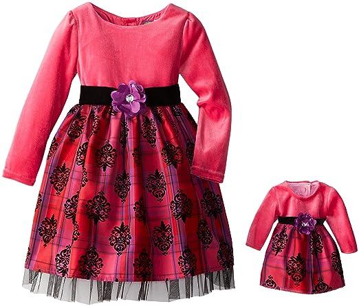 Dollie & Me Little Girls' Flocked Long Sleeve Occasion Dress, Red/Pink/Black, 5