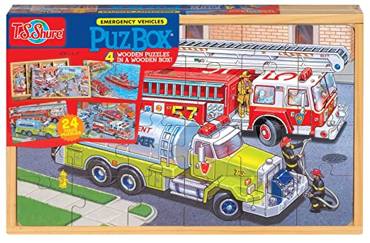 T.S Shure Emergency Vehicles 4 Large Puzzles in a Wooden Box