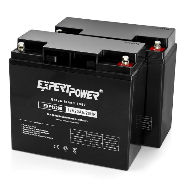 2 Pack Expertpower 12 Volt 20 Ah Rechargeable Battery With Threaded Terminals Exp12200