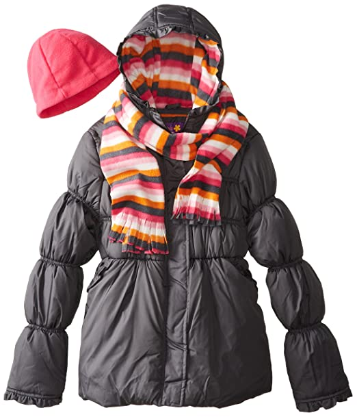 Pink Platinum Big Girls'  Solid Puffer Jacket with Stripe Hat and Scarf, Charcoal, 7/8