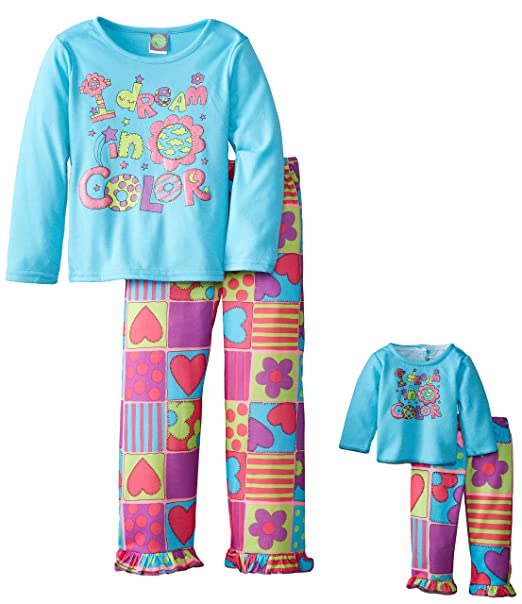Dollie & Me Little Girls'  Dream In Color Screenprint Pajama Pant Set, Turquoise/Multi, 4