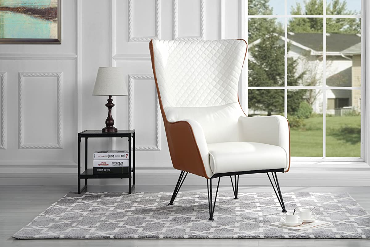 roundhill furniture wonda bonded leather accent chair with wood arms white ikea dublin covers mid century modern faux armchair shelter style living room camel
