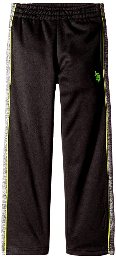 U.S. Polo Assn. Little Boys' Fleece Athletic Pant, Lime Lorry, 4