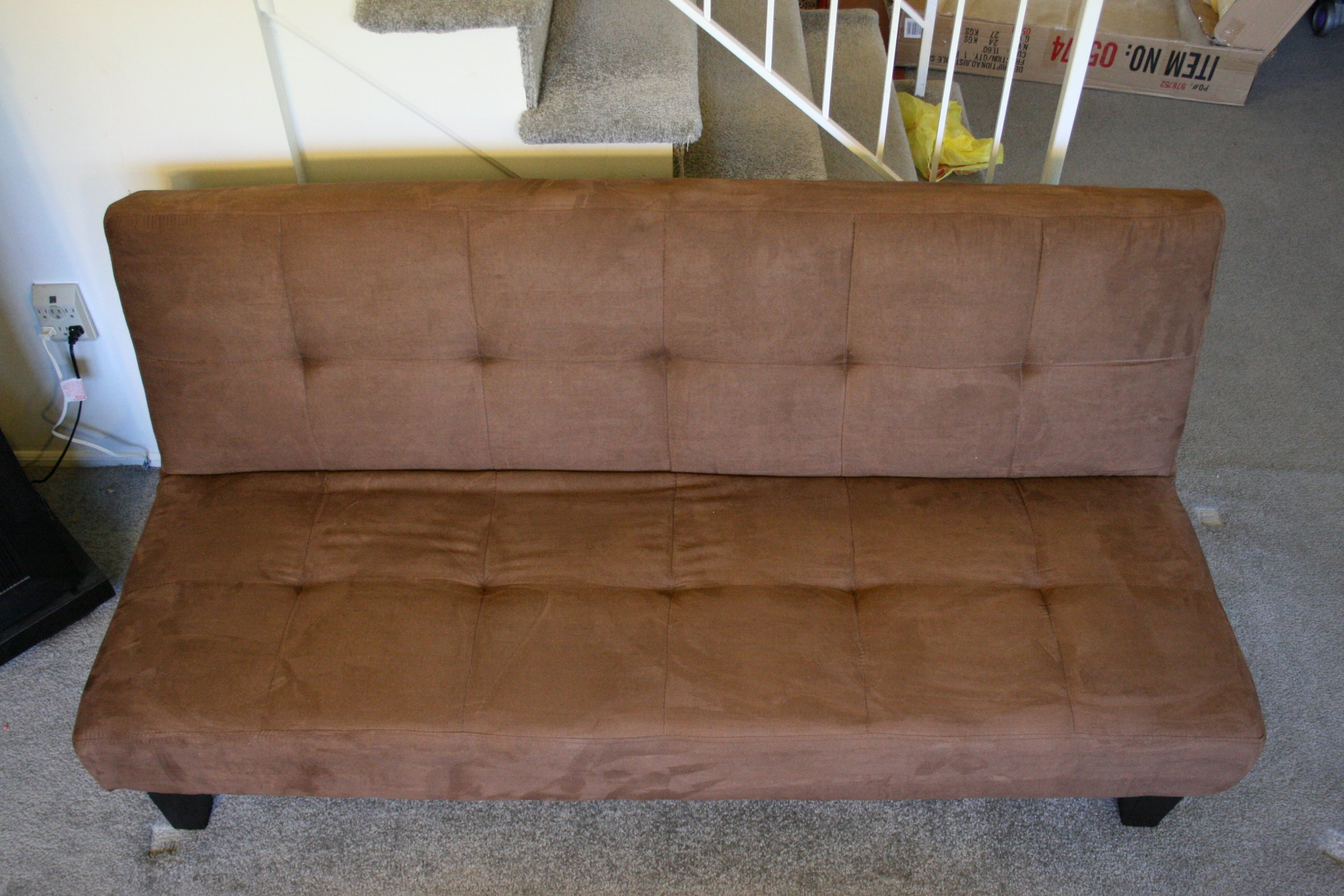 brown microfiber sofa bed debenhams acapulco chocolate with adjustable back klik klak