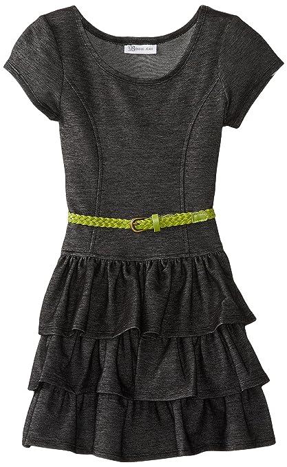 Bonnie Jean Big Girls' Cap Sleeve Knit Tiered Dress, Black Chambray, 10