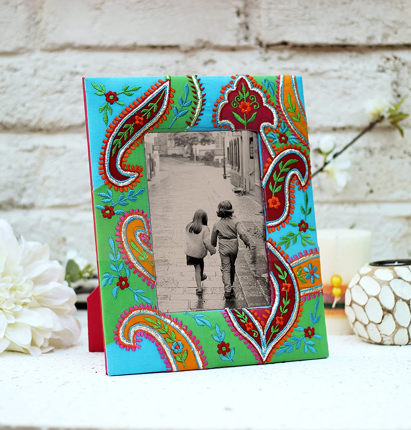 Raksha Bandhan Gift Vibrant Picture Frame with Ethnic Hand Embroidered Paisley Prints