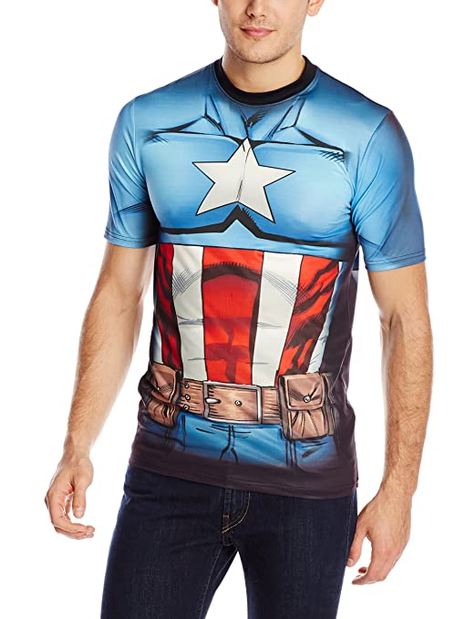 Marvel Captain America Men's Cappin Stance T-Shirt, White Sublimated, Small