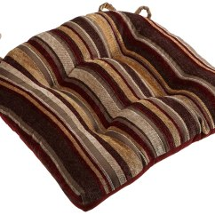 Red Kitchen Chair Pads Futon And Ottoman Covers Cushions With Ties  Fel7