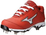Mizuno Women's 9-Spike Swift 3 Switch Softball Cleat,Red/White,5 M US