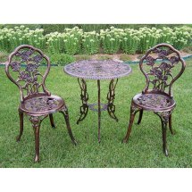 3-piece Iron Bistro Set Patio Furniture Rose Table 2