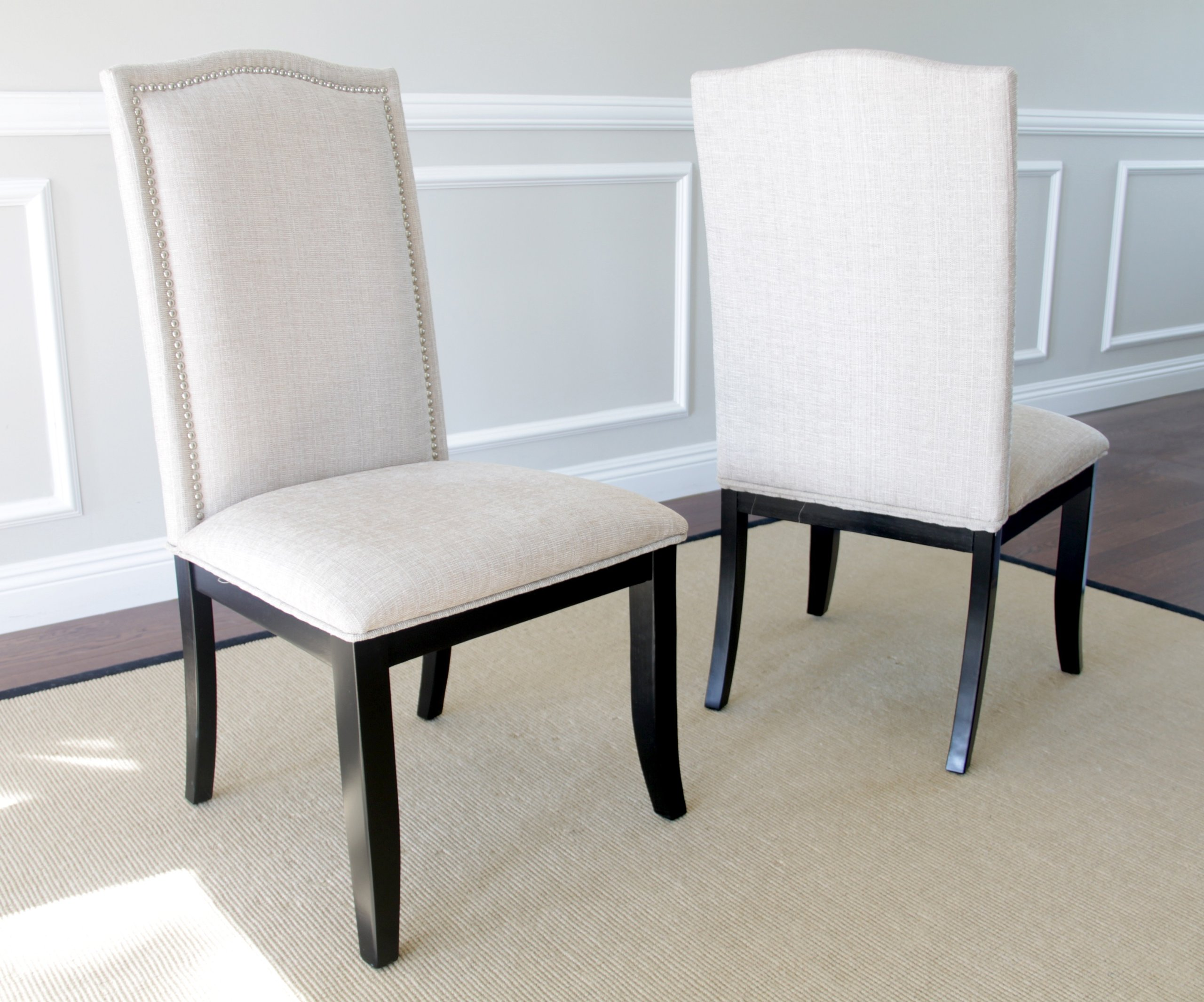 upholstered chair with nailhead trim and half sleeper set of 2 beige fabric dining chairs