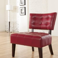 Red Club Chair Swivel Round Base New Large Cherry Leather Tufted Office