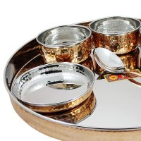 AsiaCraft Steel Copper Traditional Dinner Set of Plate ...