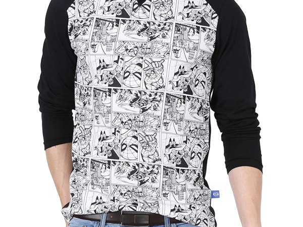 Fanideaz Cotton Comic Spiderman Printed Raglan Full sleeve TShirt for Men